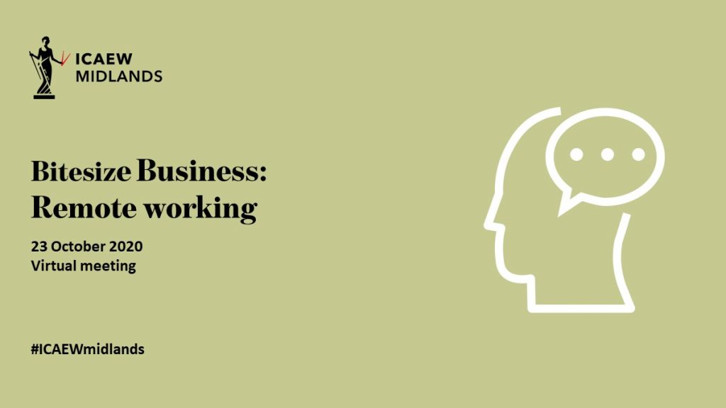 poster for the ICAEW Business Bitesize event on remote working