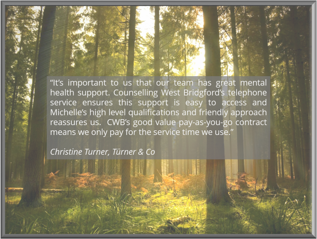 Written testimonial with background of trees